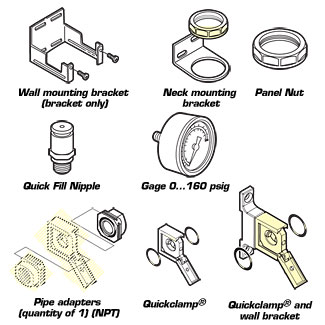 wall mounting brackets, gauges, Quickclamp brackets, accessories for OM-AIR | OM-AIR Series Acessories