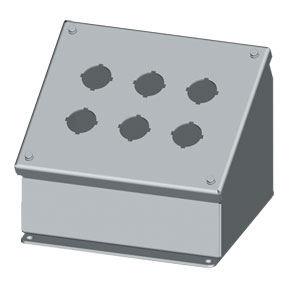 NEMA Type 12 Steel Sloping Front Pushbutton Enclosures for 22mm & 30.5mm Push Buttons | SCE-PBA Series Sloping Pushbutton Enclosures
