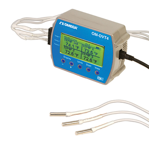 Four Channel Temperature Data Logger with Display | OM-DVT4