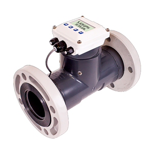 Turbine Flow Meters PVC Flange Mount | FTB700 Series Shown with DPF140 Series Display