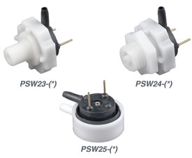 Pressure, Vacuum and Differential Switches, PCB Mountable | PSW23, PSW24, and PSW25 Series