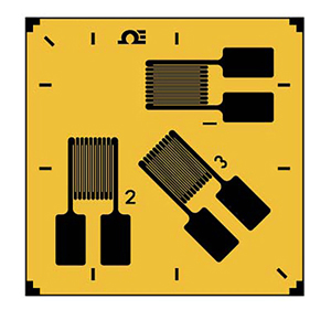 0도, 45도, 90도 각도의 3중 그리드 스트레인 게이지 | SGD-3/120-RYT21