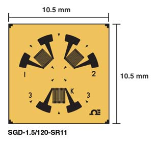 Rosette Strain Gages, Corner Rosettes and Stress Relief | SGD-1.5/120-SR11