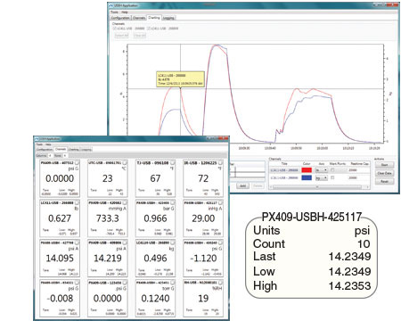 Pressure transducer Software screenshot