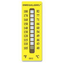 non-reversible temperature sticker
