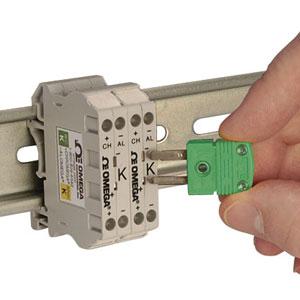 Klemrækker til termokoblere monteret på DIN-skinne med indbygget minitermokoblerstik | DRTB Series Thermocouple Terminal Blocks