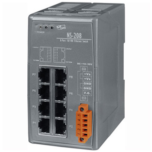8 Port Industrial DIN-Rail Ethernet Switch