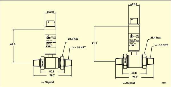 PX409-WDDIF Differential pressure transducer Dimensions