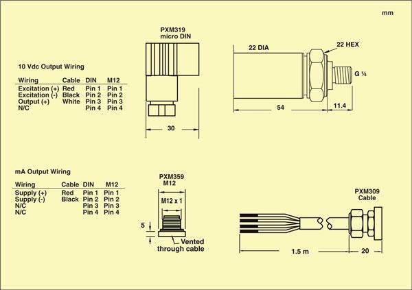 Conexiones de salida del transductor de presión PXM309