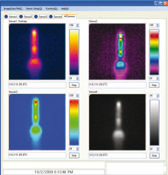 Thermal Image PC screenshot with 4 sensors (max.) connected