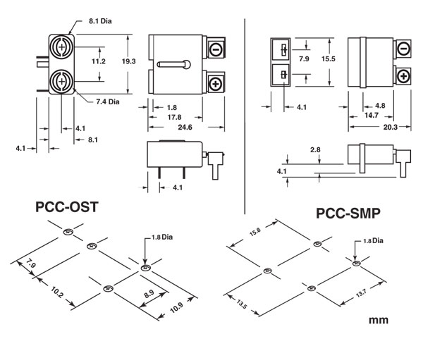 PCC-OST & PCC-SMP PCB mount thermocouple connector dimensions