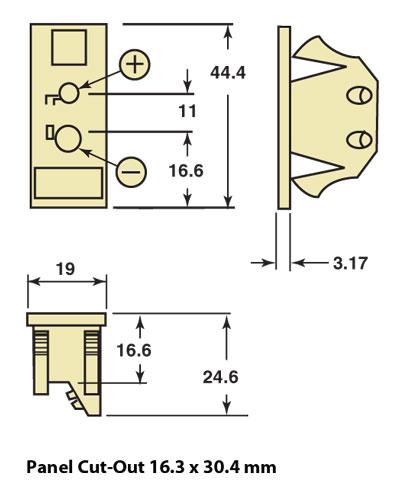 Dimensiones de los conectores de panel de termopar