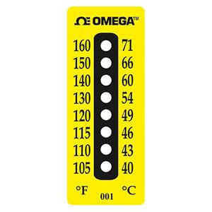 Etiqueta de temperatura não reversível, 8 pontos   Série TL-8-Dot